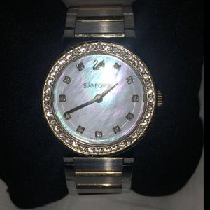 Swarovski Crystals Mother Pearl Watch Gold/Silver